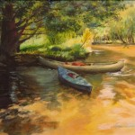 Jane Williams, Canoes at Rest, Mixed Media