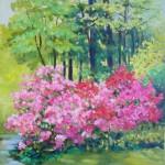 Joan Palombi, Azaleas, Oil on Canvas