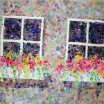 Honorable Mention, Claire Wilson, Window Boxes, Watercolor Collage
