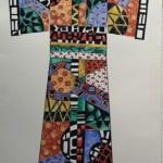 Pattern Kimono 1, watercolor and pen 27x20 framed