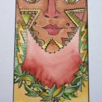 Goddess Series / Survivor, watercolor and pen 23 x 14 framed