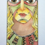 Goddess Series / Courage, watercolor and pen 23 x 14 framed