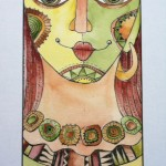 Goddess Series / Empowered, watercolor and pen 23 x 14 framed