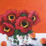 Red Poppies with Peaches