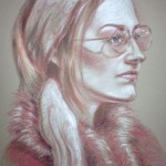 Pink Sunglasses, pastel pencil