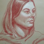 Woman in Shawl, pastel pencil