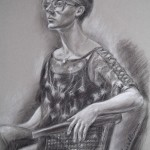 Girl in Glasses, charcoal