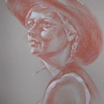 Cowgirl, pastel pencil