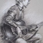 The Guitar Player, charcoal