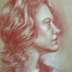 Lady in Profile, pastel pencil