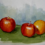 Dorothy Applegate, Two Apples and an Orange, watercolor