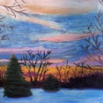 Betsy Ford, Winter Sunset, pastel