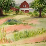 Jan Vezner, Farm at Gerber Hill, watercolor