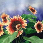 Rita Visser, Sunflowers, watercolor