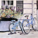 Kay Kocher, Biking to the Library, watercolor