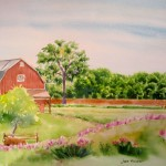 Jan Vezner, Tilling on the Farm, watercolor