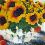 KATHY FUNDERBERG, Lovely Bowl of Sunflowers, heavily textured acrylic
