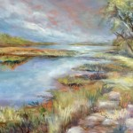 Honorable Mention, SUE ANN LADD, Side Cut River Returning 2015, oil on copper