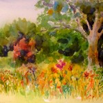 Jan Vezner, Summer Wildflowers in the Park, watercolor