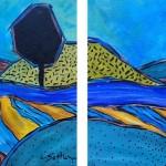 Linda Sattler, Pattern Landscape Diptychright, acrylic on canvas