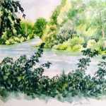 Jan Vezner, Summer Day on River, watercolor
