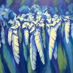 Randi O'Reilly Lowry, Feather Me Blue, oil