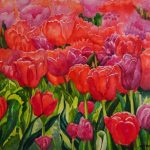 Jan Vezner, Tulips, watercolor
